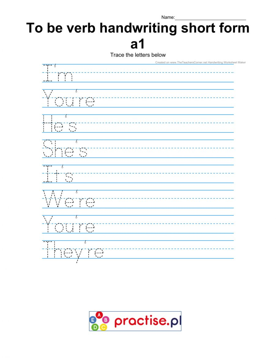 To be verb short form handwriting czasownik być a1
